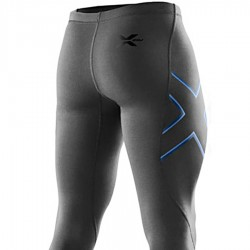 【2XU】運動款男用70丹機能壓縮長褲(雙色藍)