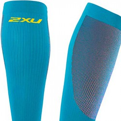 【2XU】跑步專用雙色系70丹壓縮小腿套(藍/黃)