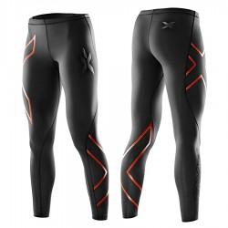 【2XU】運動款女用70丹雙色壓縮長褲(雙色紅)