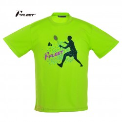 【FLEET】富力特TC-556羽球選手剪影排汗T(螢光綠)