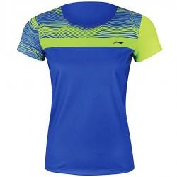 【LI-NING】李寧AAYM056-3螢黃藍波浪雙色女款專業羽球服