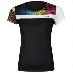 【LI-NING】李寧AAYM056-5白黑漸層波浪雙色女款專業羽球服