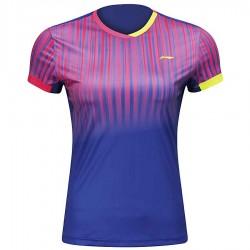 【LI-NING】李寧AAYM136-2粉藍漸層細條紋雙色女款專業羽球服