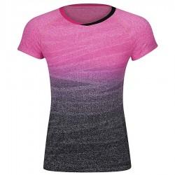 【LI-NING】李寧AAYM138-2粉黑漸層一體成形雙色女款專業羽球服