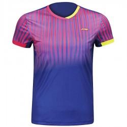 【LI-NING】李寧AAYM147-2粉藍漸層細條紋雙色男款專業羽球服