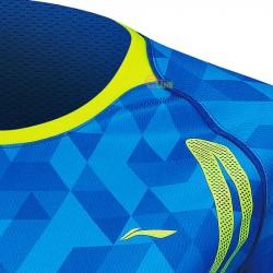 【LI-NING】李寧AAYM002-2無領設計超服貼剪裁羽球潮T迷彩藍(女款)