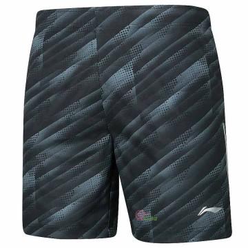 【LI-NING】AAPP061-1黑灰柔軟速乾潮流羽球比賽男短褲