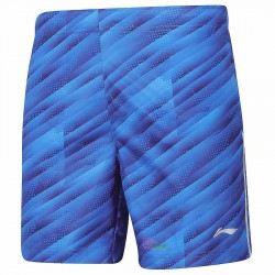 【LI-NING】AAPP061-2藍柔軟速乾潮流羽球比賽男短褲