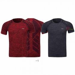 【LI-NING】ATSP145-1酒紅/黑灰 麻花圓領超彈排汗運動服2件/組