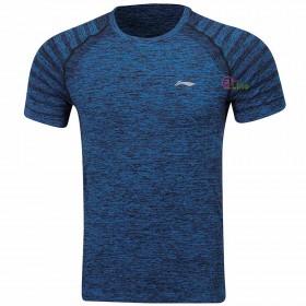 【LI-NING】ATSP145-2靛藍/黑灰 麻花圓領超彈排汗運動服2件/組