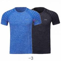 【LI-NING】ATSP145-3水藍/黑灰 麻花圓領超彈排汗運動服2件/組