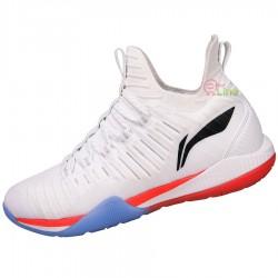 【LI-NING】酷鯊-1白 全新襪套設計超強包覆比賽級羽球鞋男款