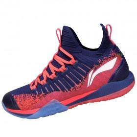 【LI-NING】酷鯊-3橘紅 全新襪套設計超強包覆比賽級羽球鞋男款