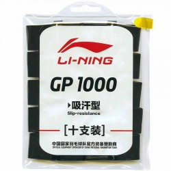 【LI-NING】GP1000黑 瞬間吸汗黏手羽球專用握把皮10入裝(薄0.6)