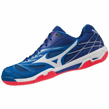 【MIZUNO】WAVE FANG NX藍紅底 寬楦羽球鞋