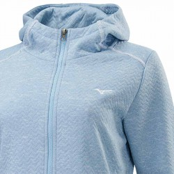 【MIZUNO】很保暖連帽女針織外套32TC073121淺藍