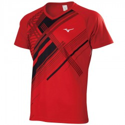 【MIZUNO】72TA050162紅 親子羽球短袖T恤