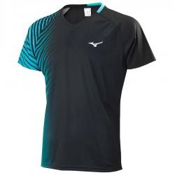 【MIZUNO】72TA050309 黑珊瑚綠 合身版型羽球T恤