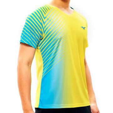 【MIZUNO】72TA050345黃藍 合身版型羽球T恤