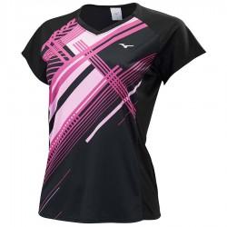 【MIZUNO】72TA070109黑 女羽球短袖T恤