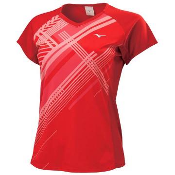 【MIZUNO】72TA070162紅 女羽球短袖T恤