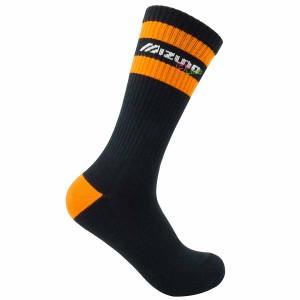 【MIZUNO】1906運動時尚男中筒襪D2TX060409Q黑橘