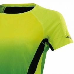 【MIZUNO】路跑&運動網狀透氣女短袖J2MA070144黃綠