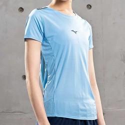 【MIZUNO】路跑&運動反光女短袖J2TA071121淺藍
