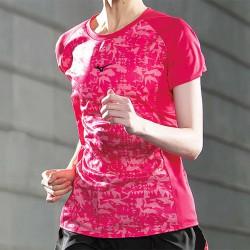 【MIZUNO】路跑&運動反光女短袖J2TA071265莓果紅