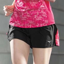 【MIZUNO】路跑&運動女短褲J2TB075696黑莓果紅