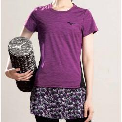 【MIZUNO】瑜珈網布短袖K2TA070468深紫