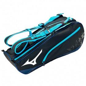 【MIZUNO】73TD020109黑藍 雙肩後背旗艦款6支裝羽球拍袋