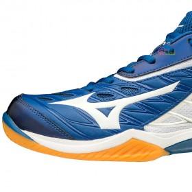 【MIZUNO】WAVE CLAW 藍白 寬楦專業級羽球鞋