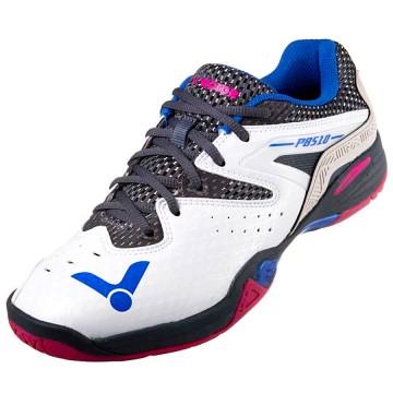 【VICTOR】P8510-AH 珠光白/深灰 避震升級側向穩定比賽級羽球鞋(寬楦)
