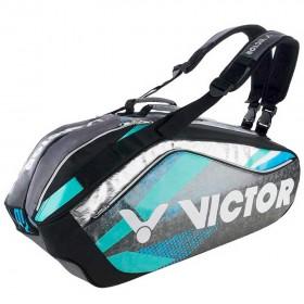 【VICTOR】BR9208CU黑/鸚鵡粉綠 旗艦12支裝雙肩羽拍包
