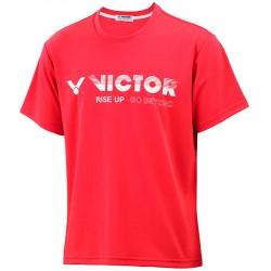 【VICTOR】T-10802D珊瑚紅 品牌印花T-Shirt