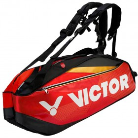 【VICTOR】BR9209DC洋紅黑 12支裝旗艦雙肩羽網包