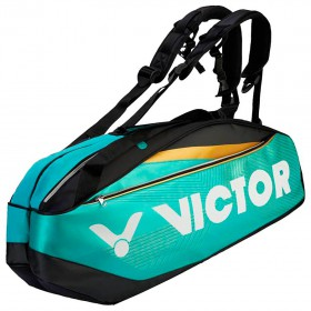 【VICTOR】BR9209RC綠松石黑 12支裝旗艦雙肩羽網包